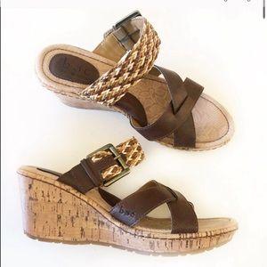 BORN Izabel Cork Wedge Sandals Strappy Woven 8 NEW